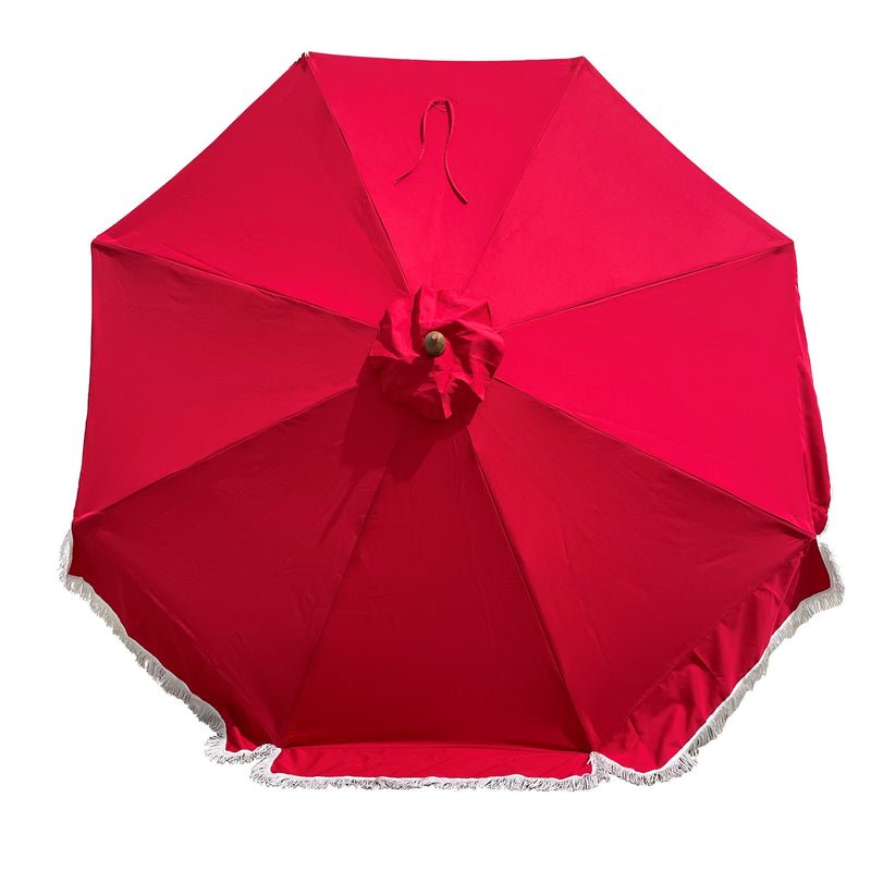 9ft 8 Ribs Replacement Umbrella Canopy w/Fringed Valance in Red (Canopy Only)