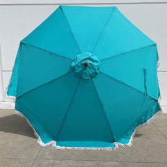 9ft 8 Ribs Replacement Umbrella Canopy w/Fringed Valance in Turquoise (Canopy Only)
