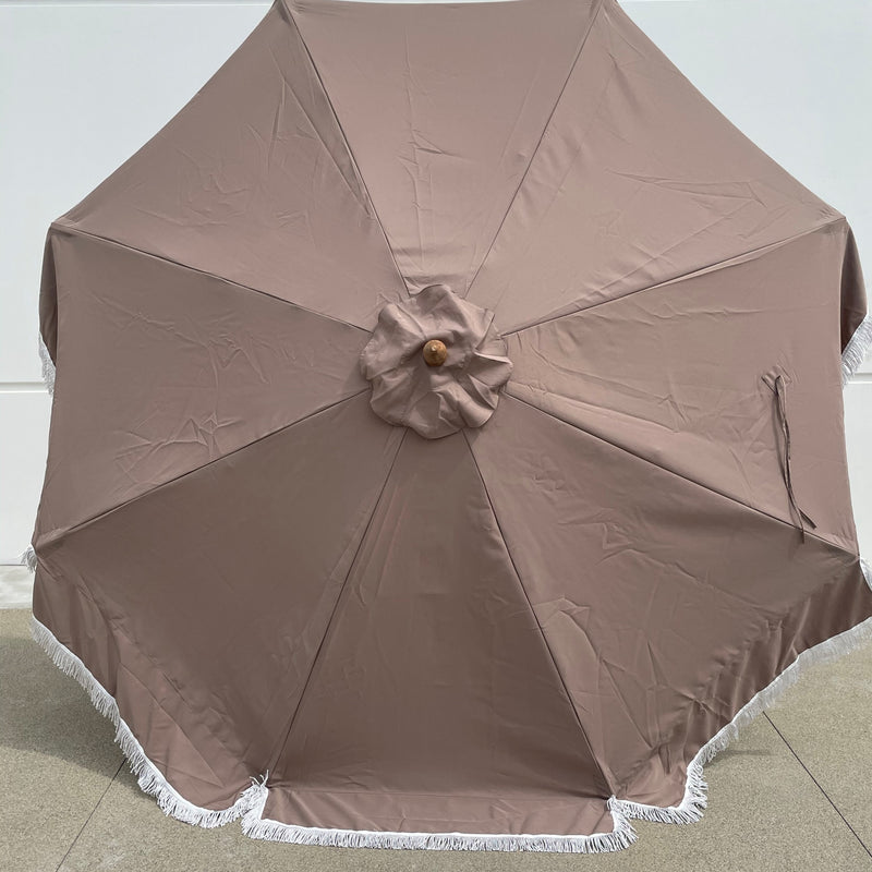 9ft 8 Ribs Replacement Umbrella Canopy w/Fringed Valance in Taupe (Canopy Only)
