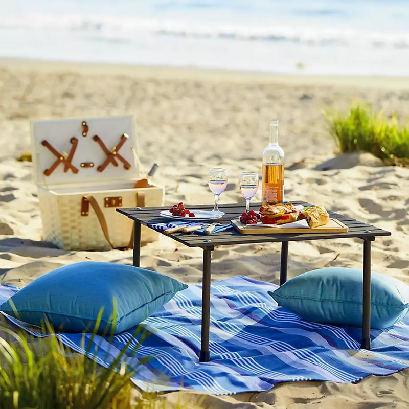 "Outdoor Portable Wood Roll Up Table in Teak Finish 26""L x 26""W x 16""H"
