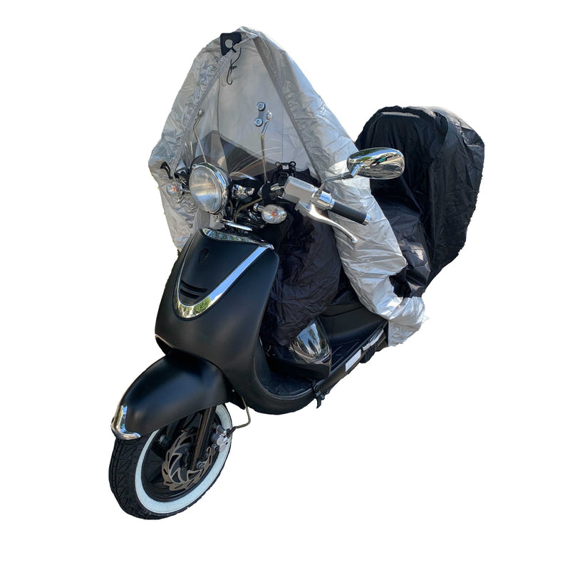Deluxe Motorcycle Cover with Back Rack Trunk Pouch (L) Black