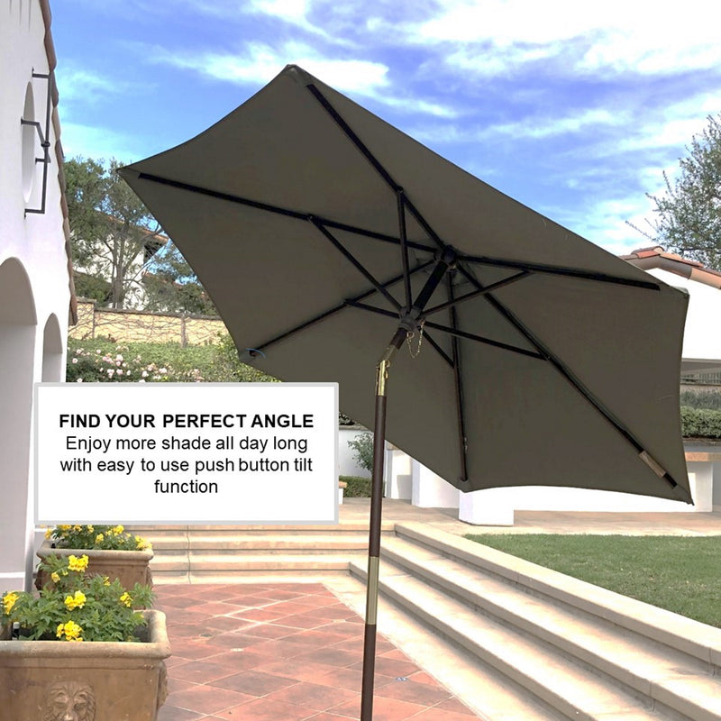 7ft Wooden Patio Garden Market Umbrella with Tilt Mechanism Sage Green