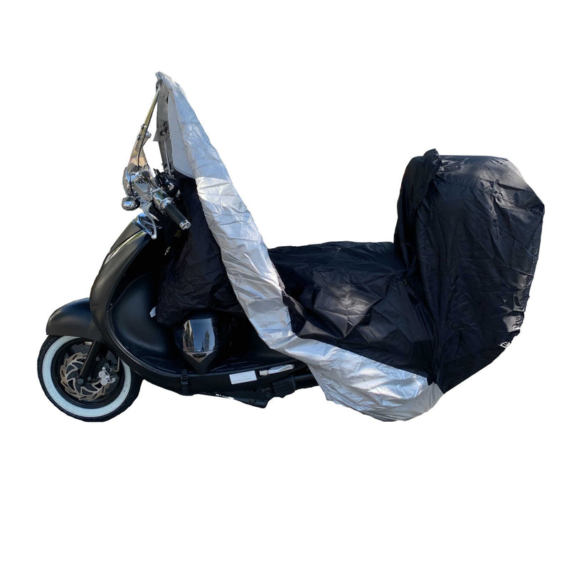 Deluxe Motorcycle Cover with Back Rack Trunk Pouch (XL) Black