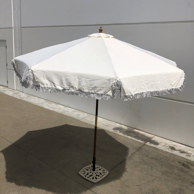 9ft 8 Ribs Replacement Umbrella Canopy w/Fringed Valance in Off White (Canopy Only)