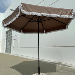 9ft 6 Ribs Replacement Umbrella Canopy w/Fringed Valance in Taupe (Canopy Only)
