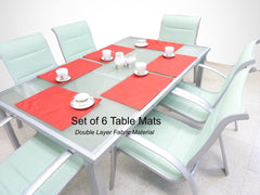 Indoor or Outdoor Patio Placemat Table Mat Red, Set of 6 - Formosa Covers