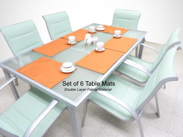 Indoor or Outdoor Patio Placemat Table Mat Terra Cotta, Set of 6 - Formosa Covers