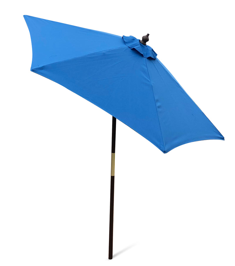 7ft Wooden Patio Garden Market Umbrella with Tilt Mechanism Capri Blue Olefin