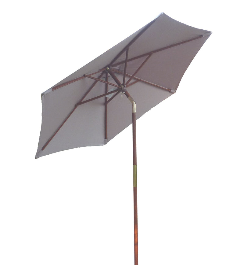 7ft Wooden Patio Garden Market Umbrella with Tilt Mechanism Taupe - Formosa Covers