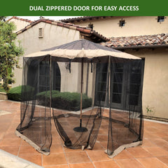 Patio Umbrella Mosquito Screen Netting fit 9ft to 11ft Market or Hanging Cantilever Umbrellas
