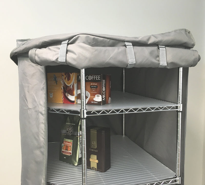"Storage Corner Shelving unit cover, fits corner racks 28""D x 28""D x 72""H in Grey - Formosa Covers"