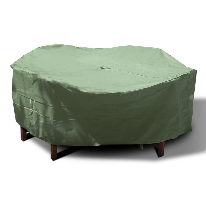 "Patio Set Cover For Round or Square Table & Chairs 96""Dia. x 30""H with Umbrella Hole Aspen Green"