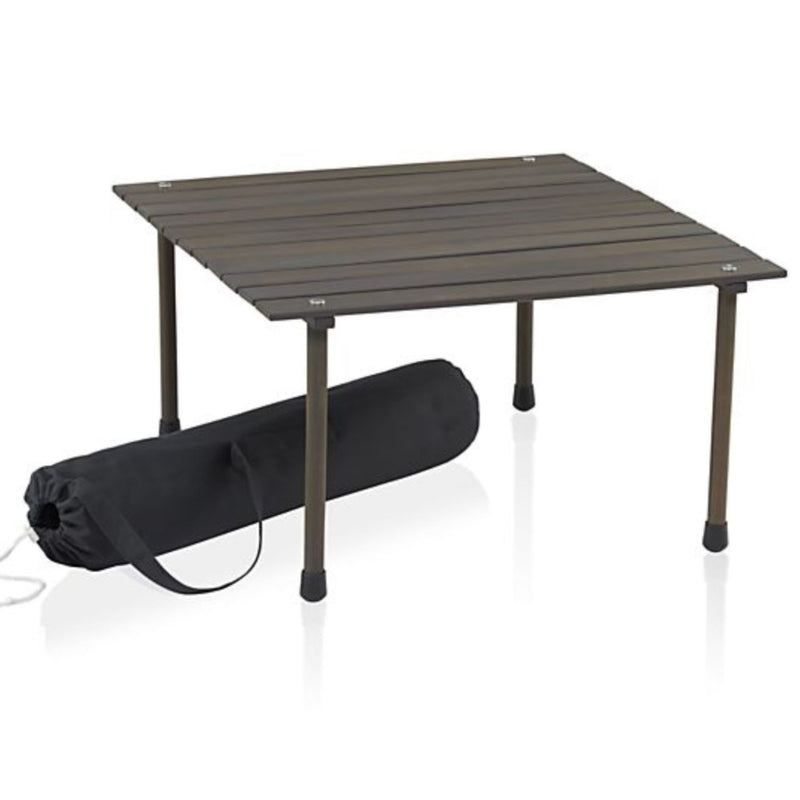 "Outdoor Portable Wood Roll Up Table in Espresso 26""L x 26""W x 16""H"