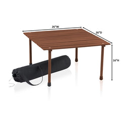 Outdoor Portable Wood Roll Up Table in Teak Finish 26