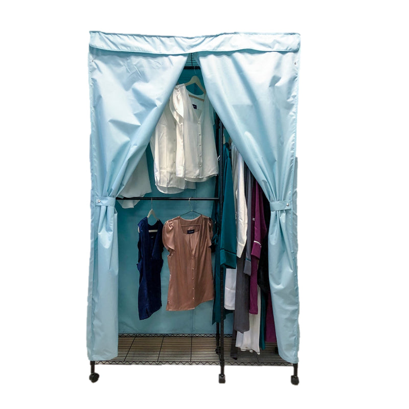 "Portable Garment Rack Cover 48""Wx18""Dx75""H Glacier Blue"