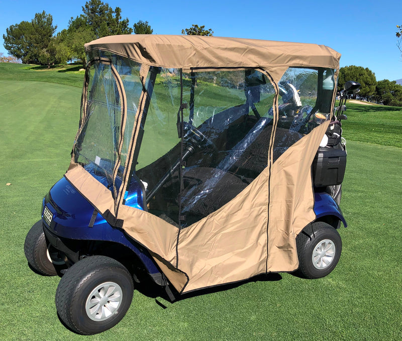 "2 Passengers Driving Enclosure Roof 56"" - 60"" Straight Down Tail in Taupe Golf Cart Cover - Formosa Covers"