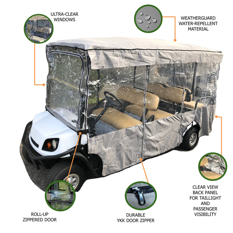 "Premium Tight Weave 6 Passengers Driving Enclosure Golf Cart Cover fits EZGO 4 + 2 Bench - 119""L x 44""W x 63""H - Formosa Covers"