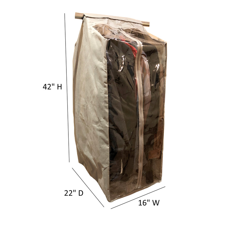 "Full Garment Rack Cover Closet Rod Cover 16""W x 22""D x 42""H Beige - Formosa Covers"