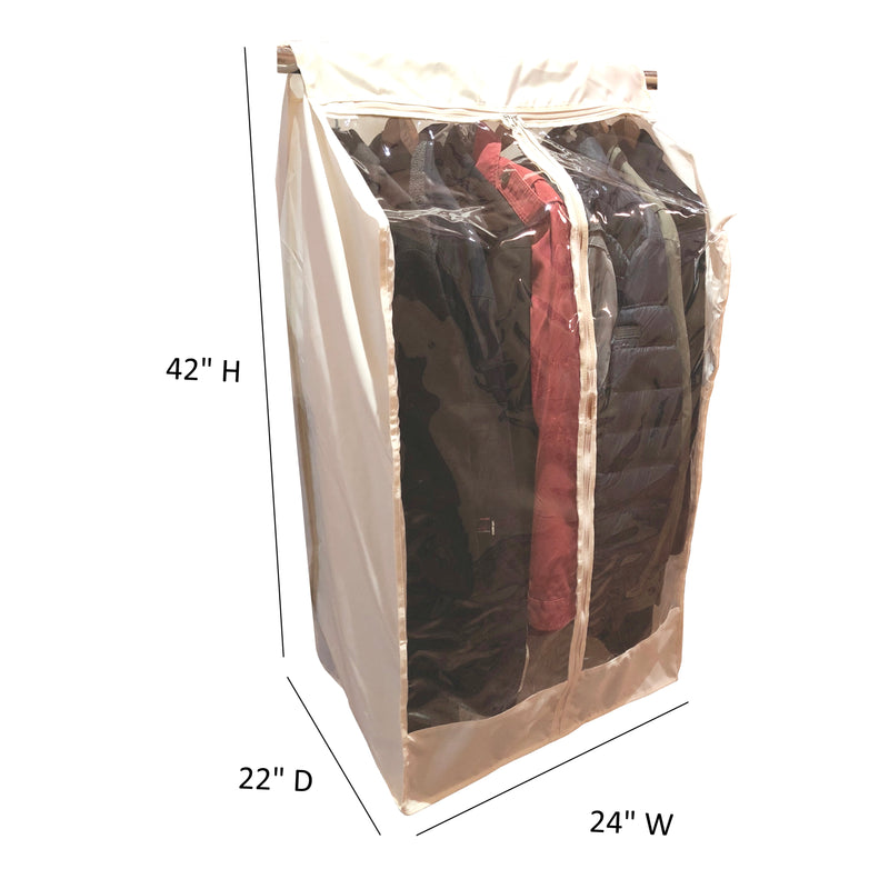 "Full Garment Rack Cover Closet Rod Cover 24""W x 22""D x 42""H Off White - Formosa Covers"