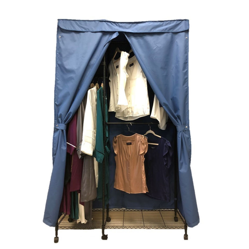 "Portable Garment Rack Cover 48""W x 18""D x 75""H Dusty Blue"