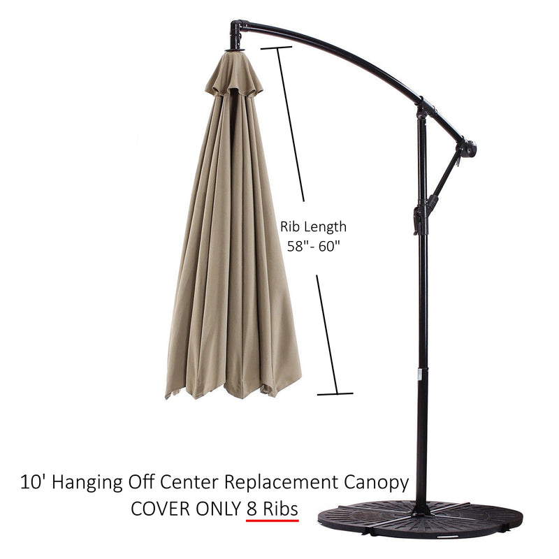 "Replacement Umbrella Canopy for 10ft 8 rib hanging market Outdoor Patio Shades in Taupe Ribs length 58"" to 60"" (Canopy Only) - Formosa Covers"