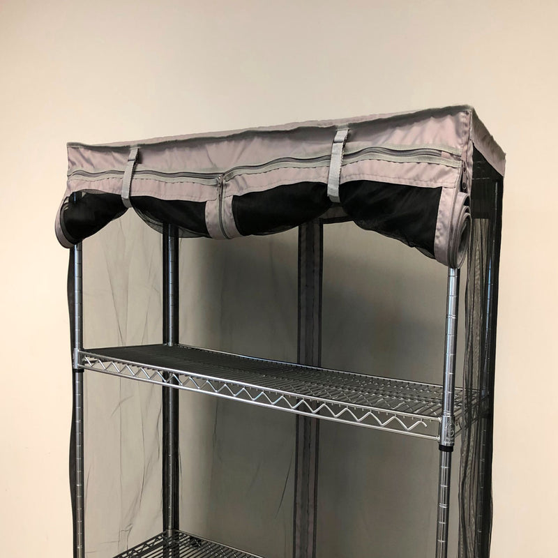 "Storage Shelving Unit Cover, fits racks 48""W x 18""D x 72""H All Mesh Netting Sides"