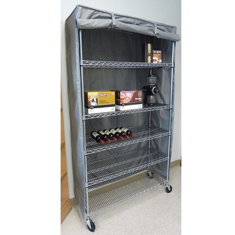 "Storage Shelving Unit Cover, fits racks 30""W x 14""D x 62""H in Grey"
