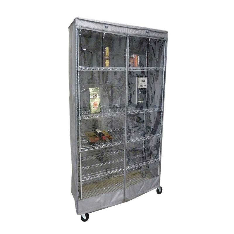 "Storage Shelving Unit Cover, fits racks 36""W x 18""D x 62""H one side see through panel in Grey"