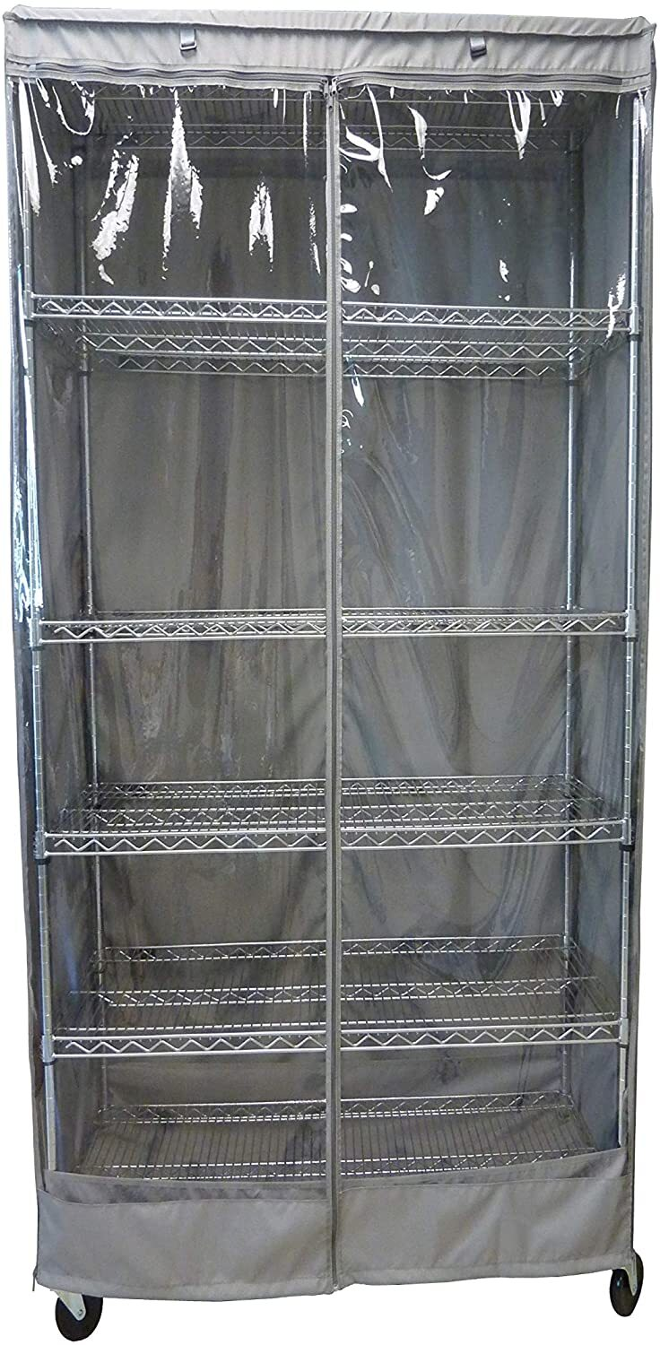 "Storage Shelving Unit Cover, fits racks 30""W x 14""D x 62""H one side see through panel in Grey"