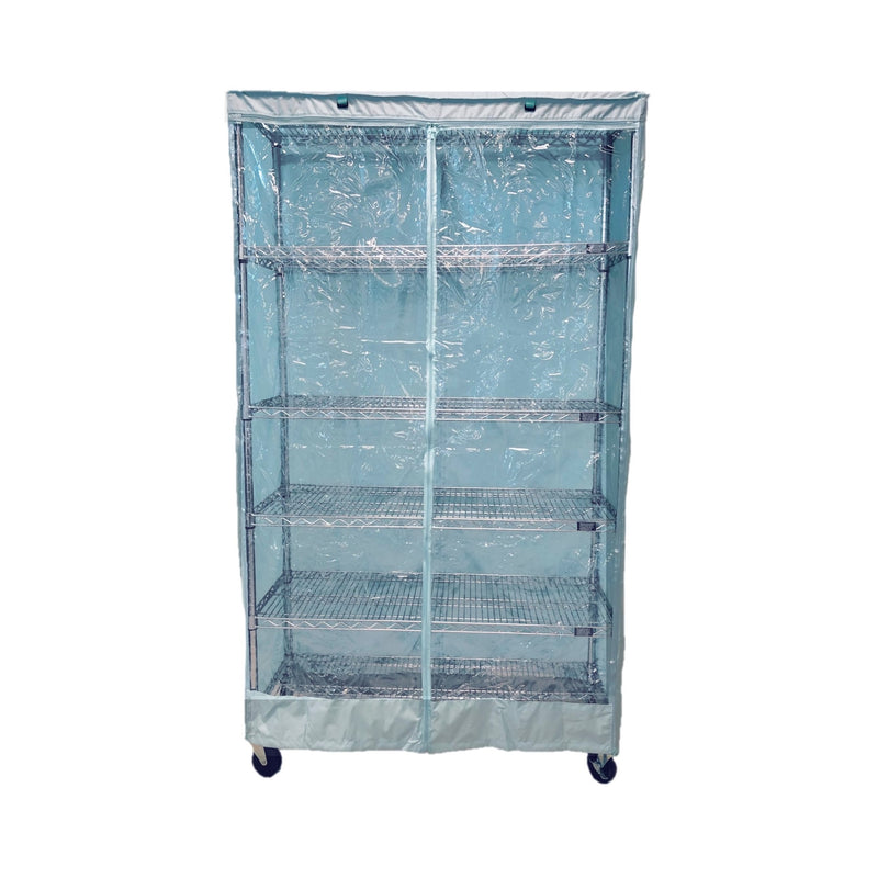 "Storage Shelving Unit Cover, fits racks 36""W x 18""D x 72""H one side see through panel in Glacier Blue"