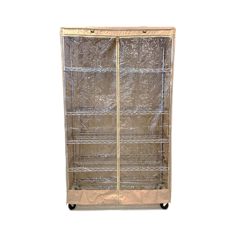 "Storage Shelving Unit Cover, fits racks 36""W x 18""D x 72""H one side see through panel in Khaki"