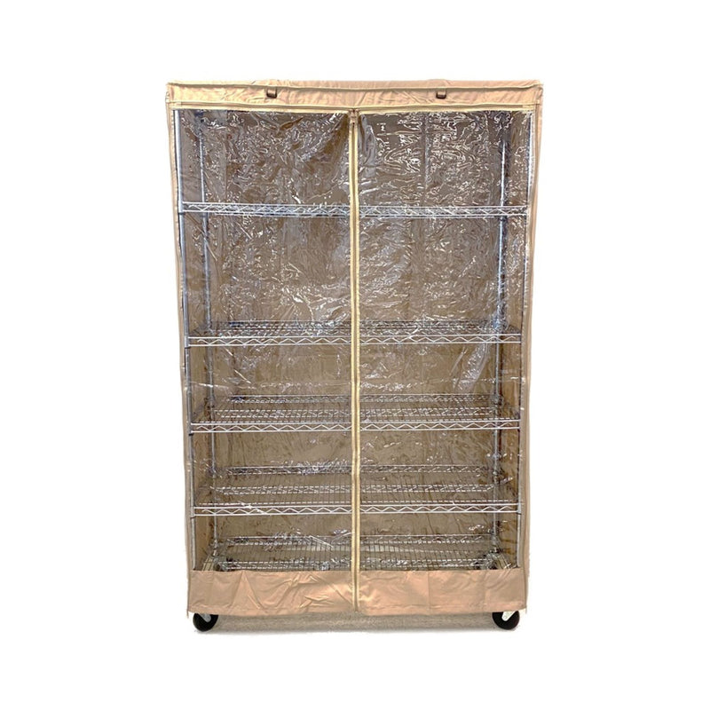 "Storage Shelving Unit Cover, fits racks 48""W x 18""D x 72""H one side see through panel in Khaki"