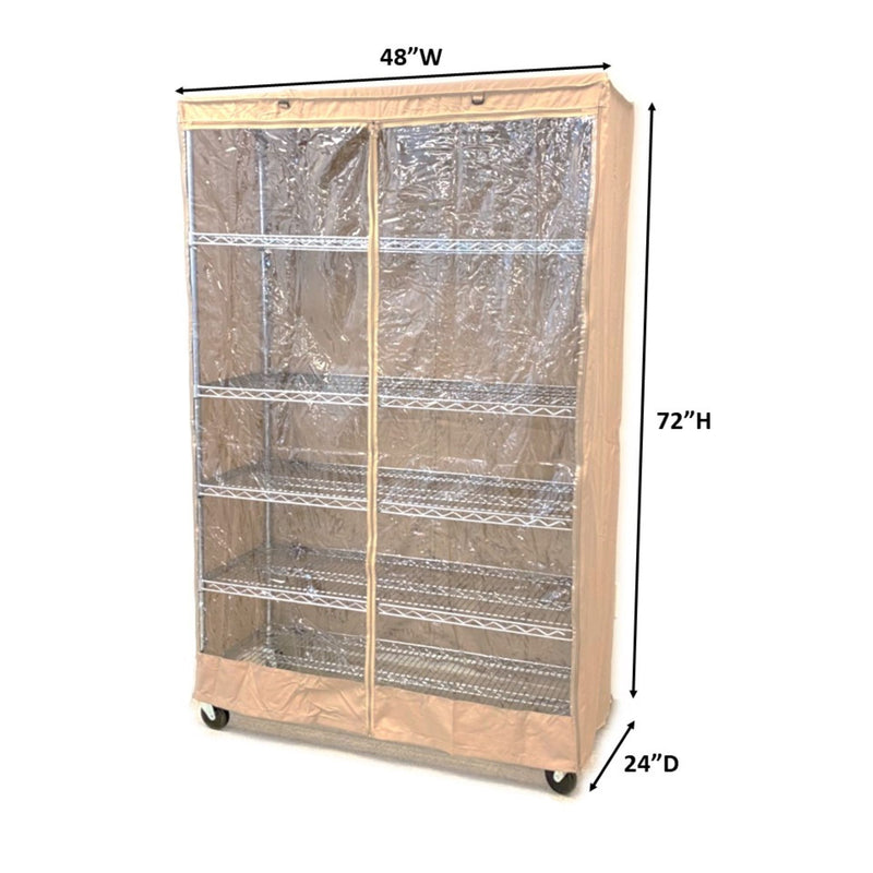"Storage Shelving Unit Cover, fits racks 48""W x 24""D x 72""H one side see through panel in Khaki"