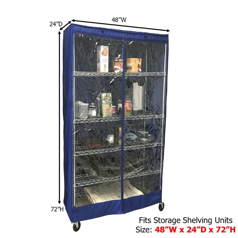 "Storage Shelving Unit Cover, fits racks 48""W x 24""D x 72""H one side see through panel in Royal Blue"