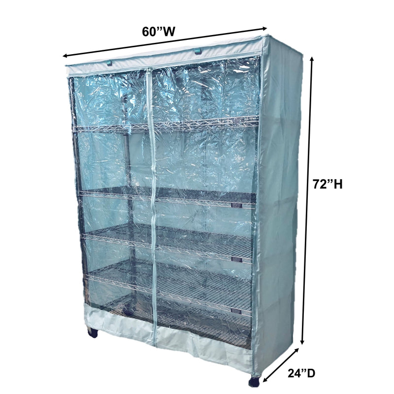 "Storage Shelving Unit Cover, fits racks 60""W x 24""D x 72""H one side see through panel in Glacier Blue"