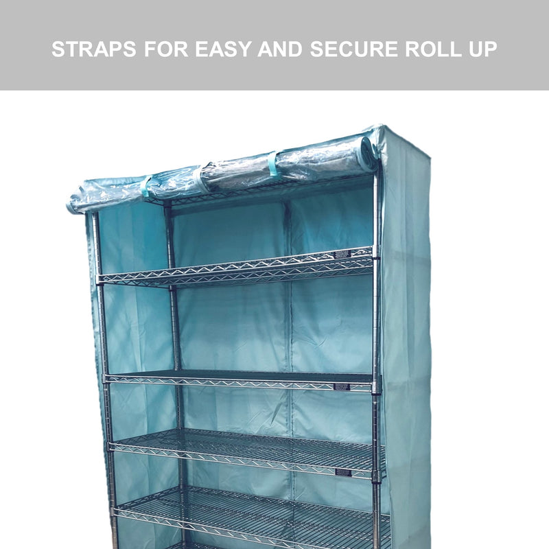 "Storage Shelving Unit Cover, fits racks 48""W x 24""D x 72""H one side see through panel in Glacier Blue"