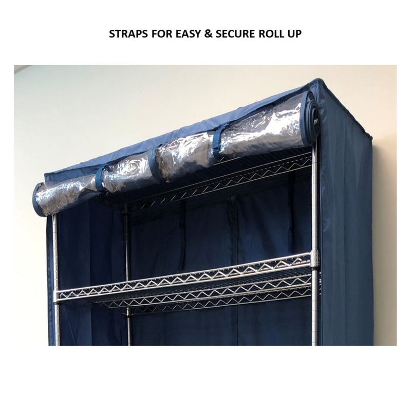 "Storage Shelving Unit Cover, fits racks 36""W x 18""D x 72""H one side see through panel in Dusty Blue"
