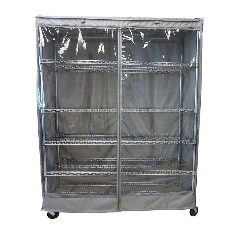 "Storage Shelving Unit Cover, fits racks 60"" W x 18""D x 72""H one side see through panel in Grey"