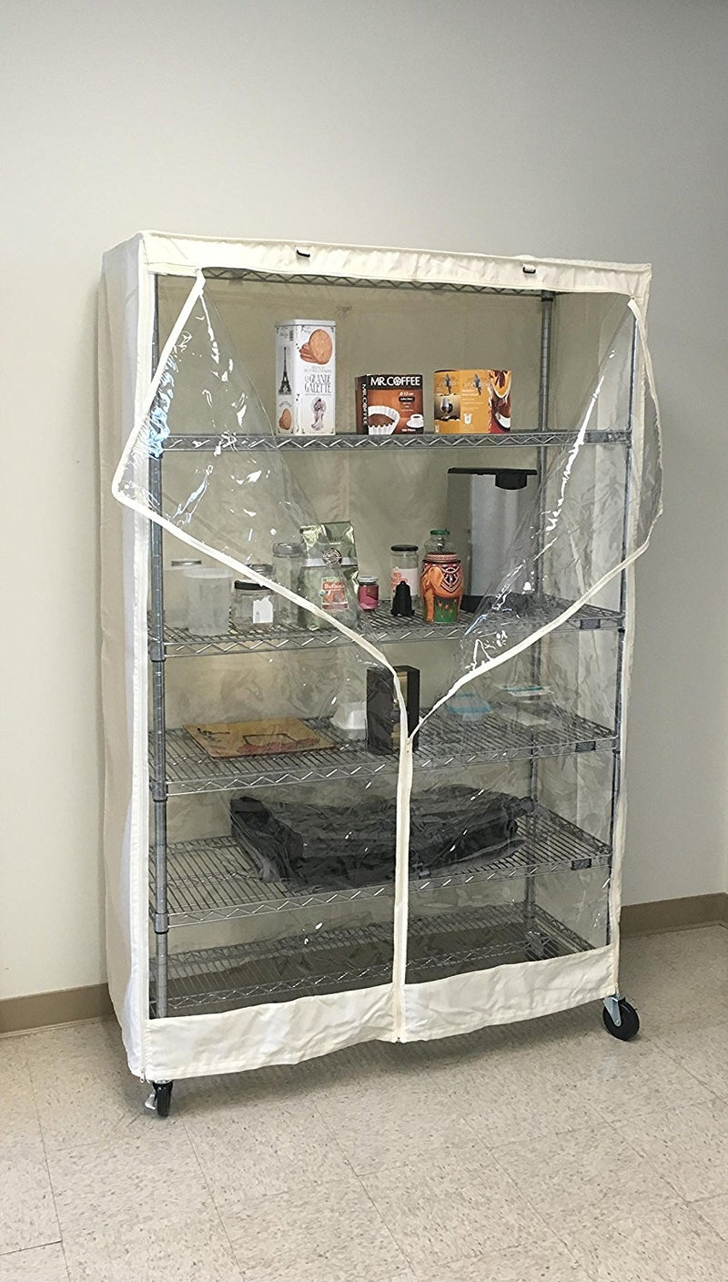 "Storage Shelving Unit Cover, fits racks 36""W x 18""D x 72""H one side see through panel in Off White - Formosa Covers"