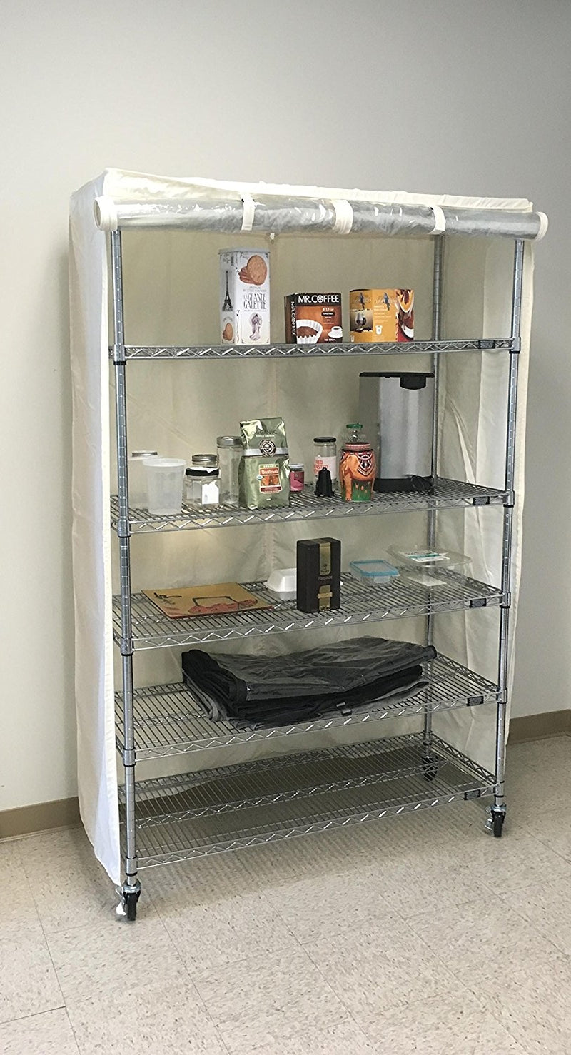 "Storage Shelving Unit Cover, fits racks 30""W x 18""D x 72""H one side see through panel in Off White - Formosa Covers"
