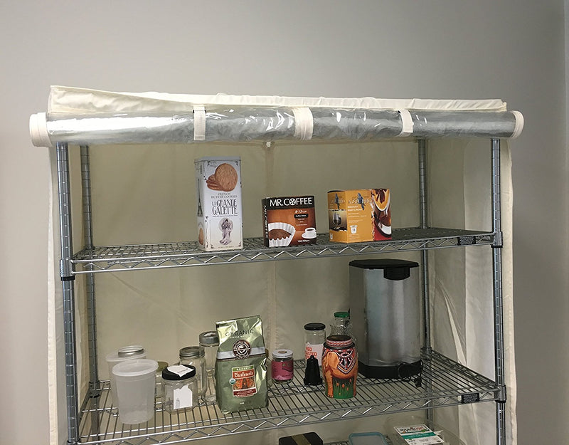"Storage Shelving Unit Cover, fits racks 30""W x 24""D x 72""H one side see through panel in Off White - Formosa Covers"