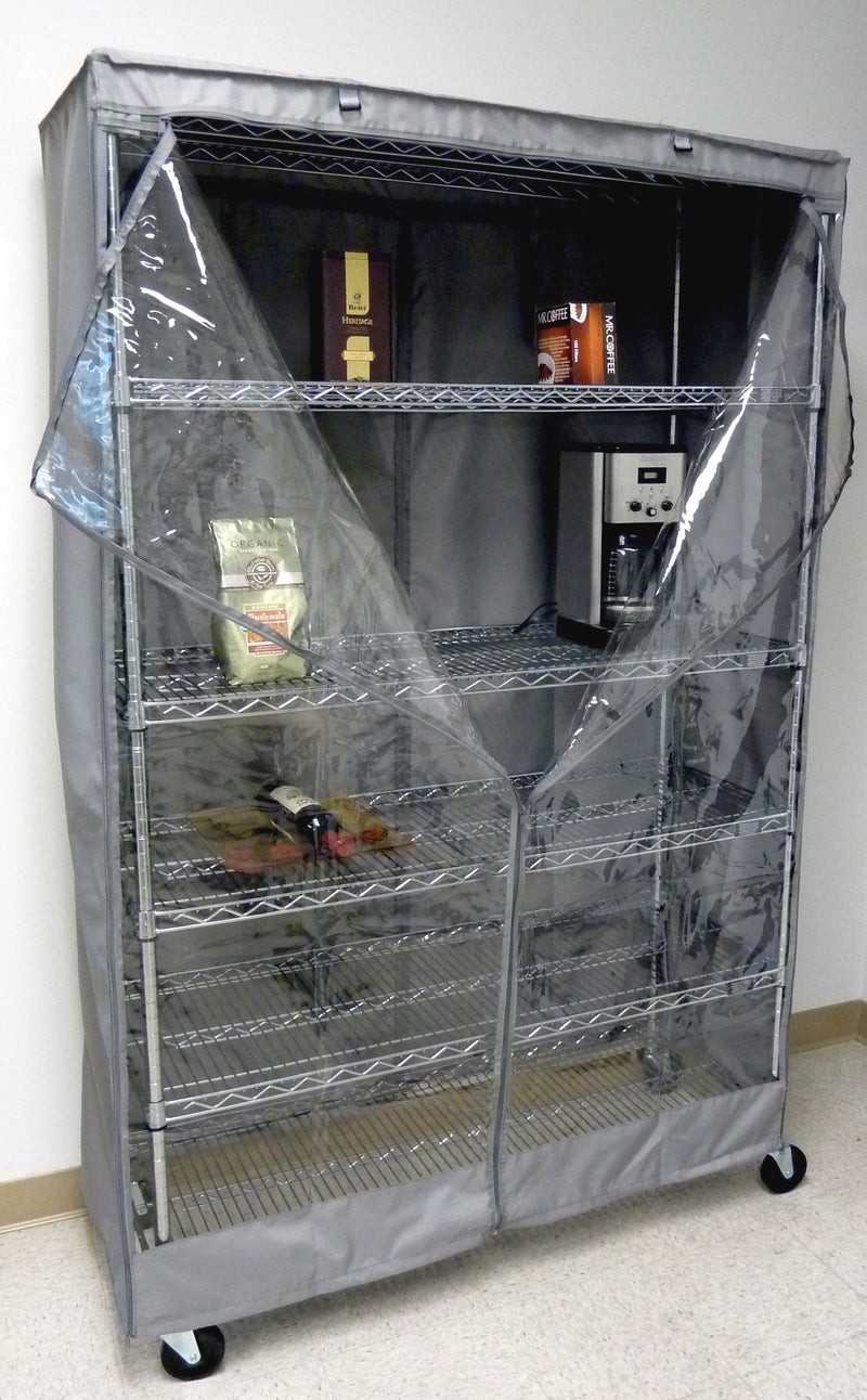 "Storage Shelving Unit Cover, fits racks 60"" W x 18""D x 72""H one side see through panel in Grey - Formosa Covers"