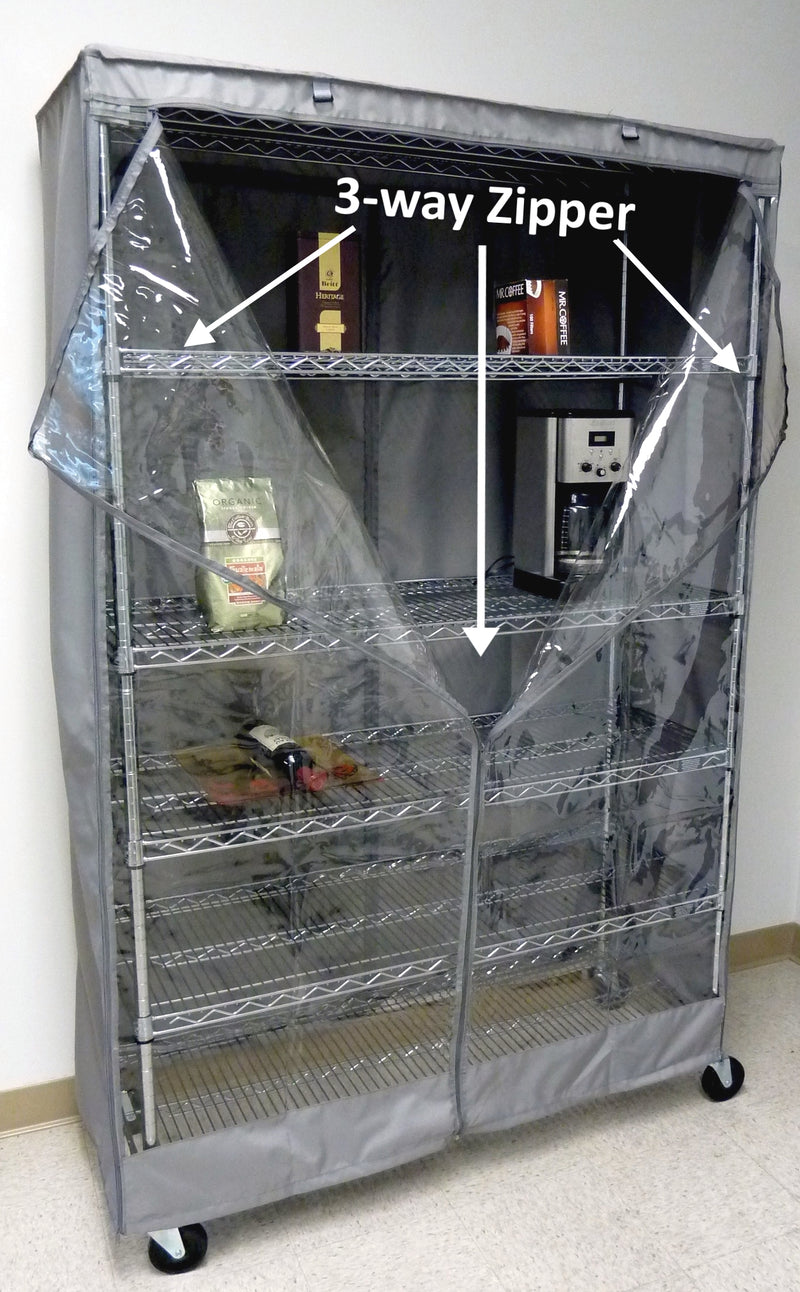 "Storage Shelving Unit Cover, fits racks 60""W x 24""D x 72""H one side see through panel in Grey - Formosa Covers"