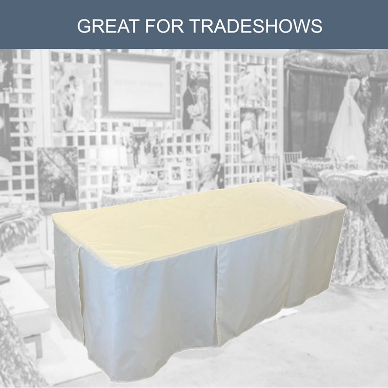 "4ft Premium Fitted Tablecloth for 48"" x 24"" Rectangular Table - Wedding/Banquet/Trade Show - Polyester Cloth Fabric Cover - Off White"