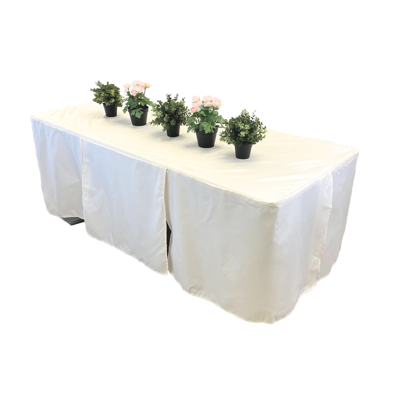 "5ft Premium Fitted Tablecloth for 60"" x 30"" Rectangular Table - Wedding/Banquet/Trade Show - Polyester Cloth Fabric Cover - Off White"