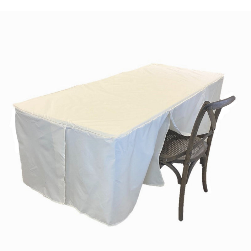 "6ft Premium Fitted Tablecloth for 72"" x 30"" Rectangular Table - Wedding/Banquet/Trade Show - Polyester Cloth Fabric Cover - Off White"