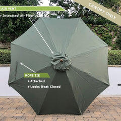 11ft Market Patio Umbrella 8 Rib Replacement Canopy Sage Green