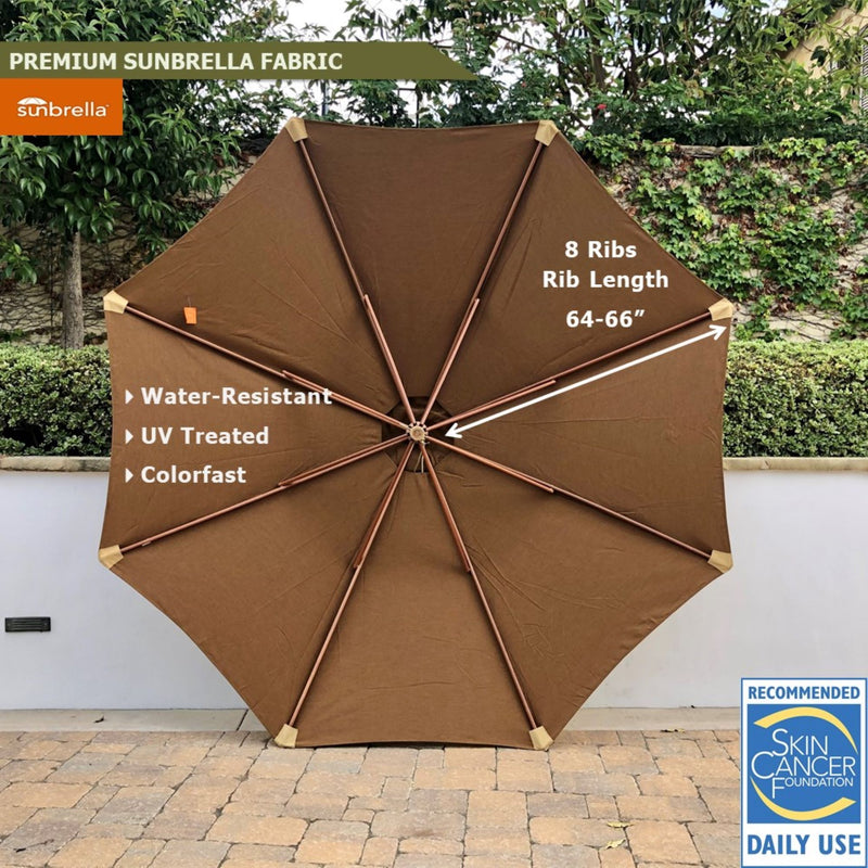 11ft Market Patio Umbrella 8 Rib Replacement Canopy Sunbrella Canvas Teak