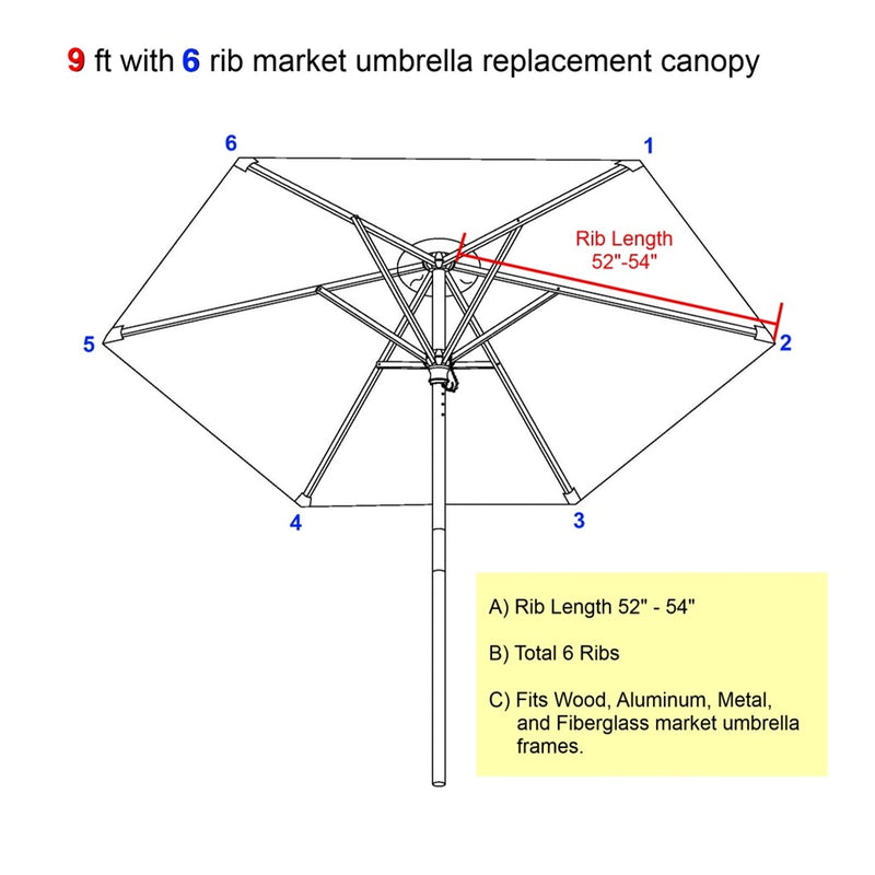 9ft Market Patio Umbrella 6 Rib Replacement Canopy Turquoise Olefin