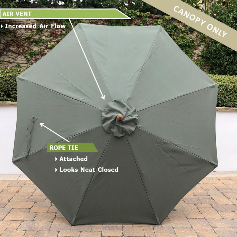 9ft Market Patio Umbrella 8 Rib Replacement Canopy Sage Green